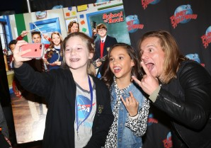 "NEW YORK, NY - MARCH 14: Tony Cavalero and Breanna Yde pose with fans as they promote thier New Nickelodeon TV Series (based on the film)""School of Rock"" at Planet Hollywood Times Square on March 14, 2016 in New York City. (Photo by Bruce Glikas/Bruce Glikas/FilmMagic) *** Local Caption *** Breanna Yde; Tony Cavalero"